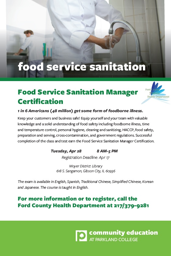 Food Service Sanitation Manager Certification Course Offered
